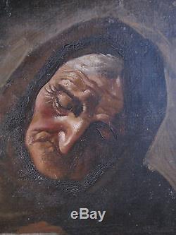 tableau ancien portrait huile toile femme vieille dame chat giovanni masutti. Black Bedroom Furniture Sets. Home Design Ideas