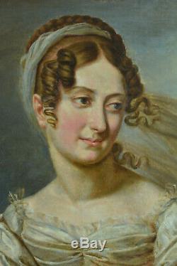 Tableau ancien Portrait Jeune femme Costume Paysage Voile fleur 1er Empire hst