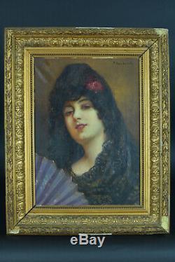 Tableau ancien Portrait jeune femme Mantille éventail Fan Sans Castano Espagne