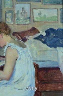 Tableau ancien Portrait jeune fille piano Pont Aven Impressionniste J. Pozier