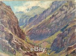 Tableau ancien Post-Impressionniste Montagne La SARENNE Huez en Oisans Huile