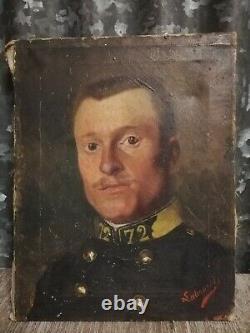 Tableau ancien XIX militaria portrait militaire huile sur toile