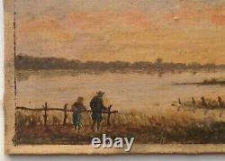 Tableau ancien XIXe Karl DAUBIGNY Barbizon Pêcheurs au couché du soleil Huile
