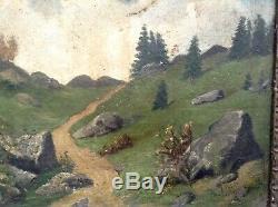 Tableau ancien XIXe proche Gustave COURBET Paysage JURA Huile Toile c1886 signée