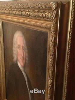 Tableau ancien XVIIIe Portrait homme à la perruque Huile sur toile fin 18eme