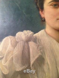 Tableau ancien fin XIXe Portrait de Jeune Femme au bouquet Fleur Huile sur toile