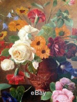 Tableau ancien fin XIXeme Bouquet de Roses et fleurs sur entablement c1879
