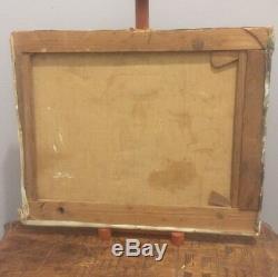 Tableau ancien fin XIXème début XXème Huile sur toile Marine Animée bateau