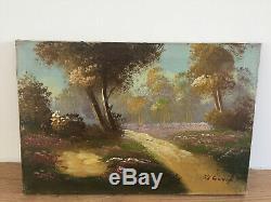 Tableau ancien huile sur toile DE YI (XXe-s) paysage