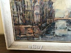 Tableau ancien huile sur toile David STANSKY (1930-1970) vue bruges