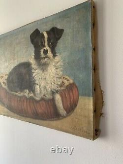 Tableau ancien huile sur toile Signé Rossini Représentant Un Chien Années 50