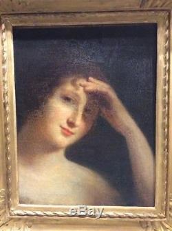 Tableau ancien huile sur toile portrait jeune fille fin XIXème 19ème