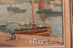 Tableau ancien par Henry BURON scène de port Huile sur toile 25 cm x 33 cm SBD