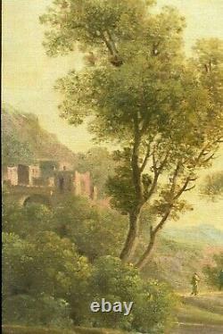 Tableau ancien paysage animé lanvandières au ruisseau école Française fin XVIIIè