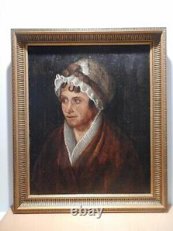 Tableau ancien peinture ancienne XIX 19 siècle portrait buste femme coiffe