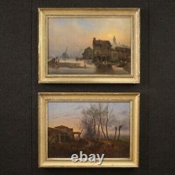 Tableau ancien peinture huile sur toile avec cadre paysage marine style ancien