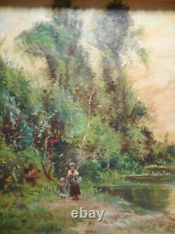 Tableau ancien peinture paysage campagne bord rivière personnage gout Barbizon 2