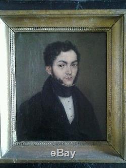 Tableau ancien portrait 19 ème huile sur toile signé