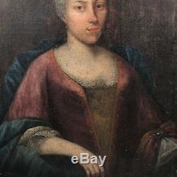 Tableau ancien, portrait XVIIIème d'une dame de qualité