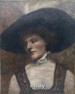 Tableau ancien, portrait d'une élégante au chapeau