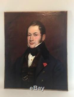 Tableau ancien, portrait, gentilhomme 1832 L. Schwiter
