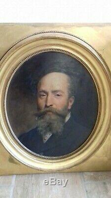 Tableau ancien portrait homme notable. Fin 19ème. Signé E. Ponsan
