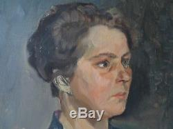 Tableau, ancien, portrait, jeune femme, huile sur toile, étude