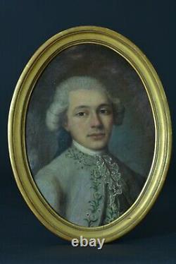 Tableau ancien portrait jeune homme Costume Cravate Dentelle Louis XV sv Drouais