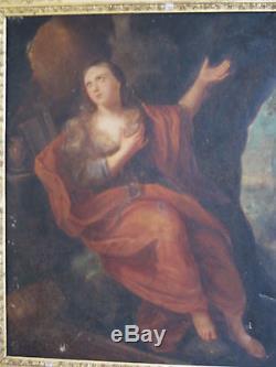 Tableau ancien religieux Huile Toile Portrait Marie-Madeleine Cadre XIXe