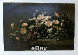 Tableau ancien signé Badel, Huile sur toile, Bouquet de fleurs, XIXe