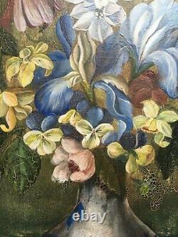 Tableau ancien signé Ch. Eté, Huile sur toile, Nature morte, Bouquet, Fleurs XXe