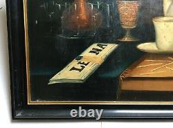 Tableau ancien signé, Daté 81, Huile sur toile, Nature morte au cigare, Fin XIXe