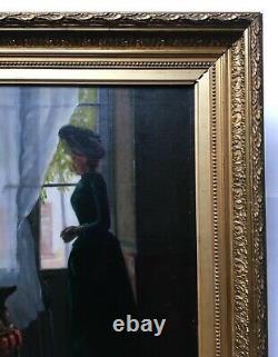 Tableau ancien signé, Grande huile sur toile, Femme à la fenêtre, Encadré, XIXe