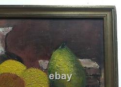 Tableau ancien signé, Huile sur carton toilé, Nature morte, Encadré, XXe