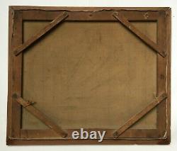 Tableau ancien signé, Huile sur toile, Clairière, Vache, Grand format, Début XXe