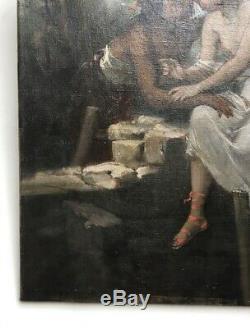 Tableau ancien signé, Huile sur toile, Ecole symboliste, Jeune couple, XIXe