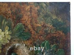 Tableau ancien signé, Huile sur toile, Nid, Oeufs, XIXe