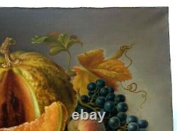 Tableau ancien signé et daté 1887, Huile sur toile, Nature morte, Fruits, XIXe