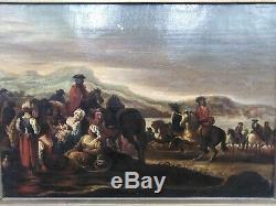 Tableau ancien xviiième cavaliers chevaux femmes et enfants halte xvii-xviiième
