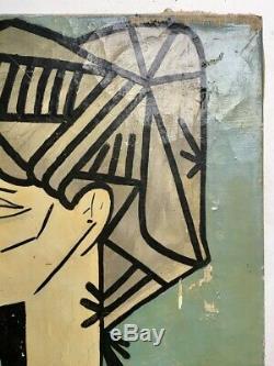 Tableau cubiste XXe, huile sur toile à restaurer, portrait de femme