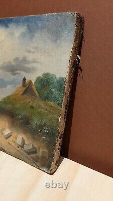 Tableau du 19ème siècle Promeneur sur un chemin