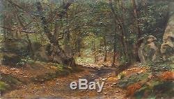 Tableau école de Barbizon sous bois signé J. Texier XIX° siècle