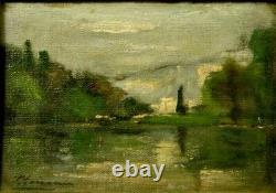 Tableau fin 19ème paysage lacustre signature impressionnisme