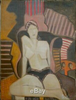 Tableau huile sur toile FEMME ASSISE + signée RIBERA