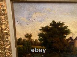 Tableau huile sur toile XIXe vue de château fort à la rivière