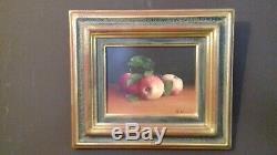 Tableau huile sur toile XXème Nature morte aux pommes thérèse De Gaulle