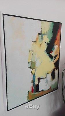 Tableau huile sur toile composition abstraite Jean MIOTTE