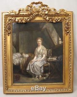 Tableau huile sur toile dans le goût de Greuze époque XIX ème siècle