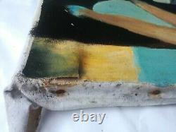 Tableau huile sur toile illisible