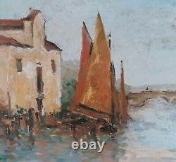 Tableau huile sur toile marine signée
